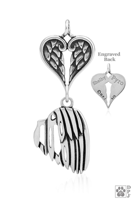 Sterling Silver Havanese Pendant, Head w/Healing Angels -- new