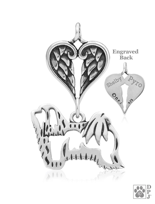 Personalized Sterling Silver Havanese Angel Necklace, Body