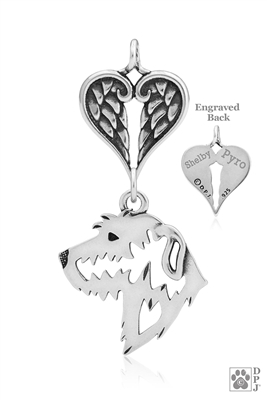 Sterling Silver Irish Wolfhound Pendant, Head w/Healing Angels -- new