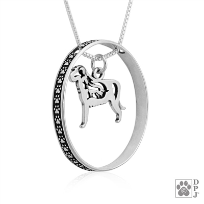 Sterling Silver Irish Wolfhound Necklace w/Paw Print Enhancer, Body