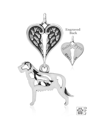 Sterling Silver Irish Wolfhound Pendant, w/Wolf in Body, w/Healing Angels -- new