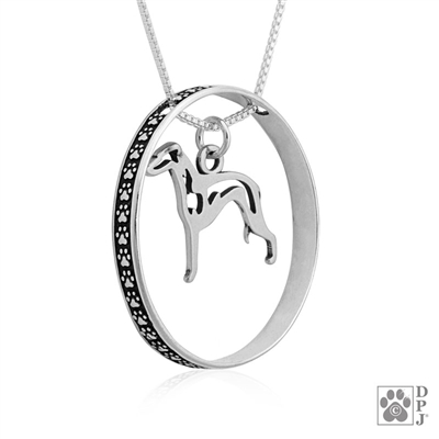 Sterling Silver Italian Greyhound Pendant, Body, w/Colossal Blinger -- new