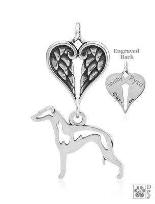 Sterling Silver Italian Greyhound Pendant, Body w/Healing Angels -- new