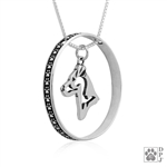 Sterling Silver Jack Russell Terrier Pendant, Smooth Coat, Head, w/Colossal Blinger -- new