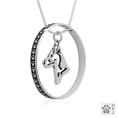 Sterling Silver Jack Russell Terrier Necklace w/Paw Print Enhancer, Head