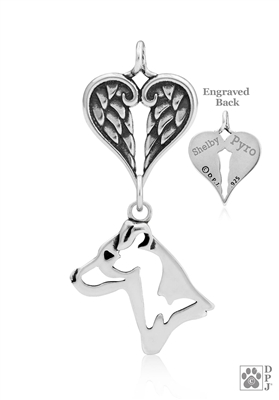 Sterling Silver Jack Russell Terrier Pendant, Smooth Coat, Head w/Healing Angels -- new
