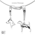 Designer Sterling Silver Parson Russell Terrier Necklace, Jack Russell Terrier Fine Jewelry