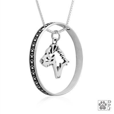 Sterling Silver Jack Russell Terrier Pendant, Broken Coat, Head, w/Colossal Blinger -- new