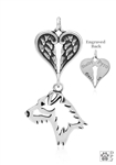 Sterling Silver Jack Russell Terrier Pendant, Broken Coat, Head w/Healing Angels