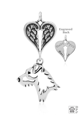Personalized Sterling Silver Jack Russell Terrier Angel Necklace, Head