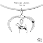I Love My Jack Russell Terrier Necklace, Sterling Silver Jack Russell Terrier necklace