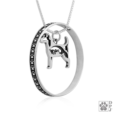 Sterling Silver Jack Russell Terrier Pendant, w/Fox in Body, w/Colossal Blinger -- new