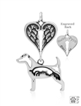 Sterling Silver Parson Russell Terrier Pendant, w/Fox in Body, w/Healing Angels -- new