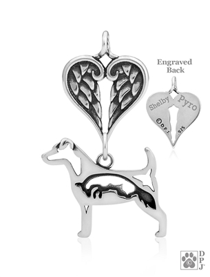 Personalized Sterling Silver Parson Russell Terrier Angel Necklace, Body