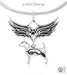 Sterling Silver Parson Russell Terrier Memorial Jewelry, Parson Russell Terrier Angel Wing Necklace