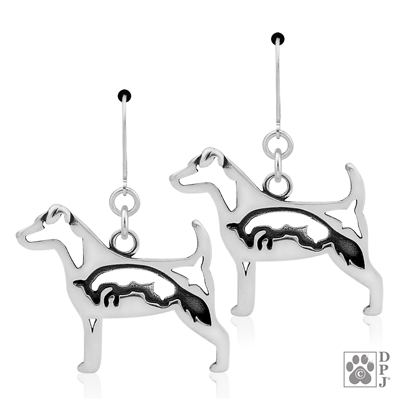 Parson Russell Terrier with Fox Earrings