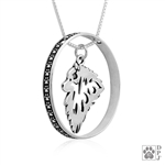Sterling Silver Keeshond Pendant Necklace, Keeshond Fine Jewelry Gifts, Kees Lovers