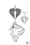 Personalized Sterling Silver Keeshond Angel Necklace, Head