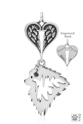 Sterling Silver Keeshond Pendant, Head w/Healing Angels -- new