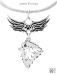 Sterling Silver Keeshond Angel Wing Pendant Necklace, Keeshond Memorial Jewelry, Keeshond Sympathy Gifts