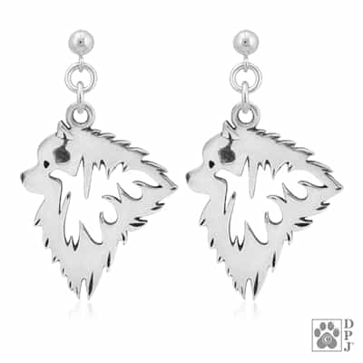 Keeshond Earrings, Keeshond Earring