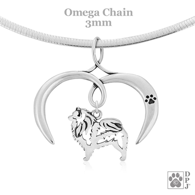 I Love My Keeshond Necklace, Sterling Silver Keeshond necklace