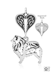 Sterling Silver Keeshond Pendant, Body w/Healing Angels -- new