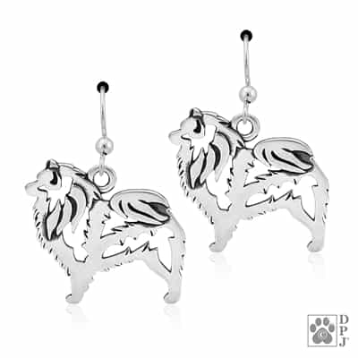 Sterling Silver Keeshond Earrings, Keeshond Jewelry Gifts, Kees Lovers