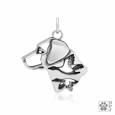 Sterling Silver Labrador Retriever Pendant. Sterling Silver Labrador Retriever Necklace.  What to get a Labrador Retriever lover.  Labrador Retriever Merchandise For Dog Lovers.