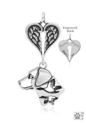 Sterling Silver Labrador Retriever Pendant, w/Ducks in Head, w/Healing Angels -- new
