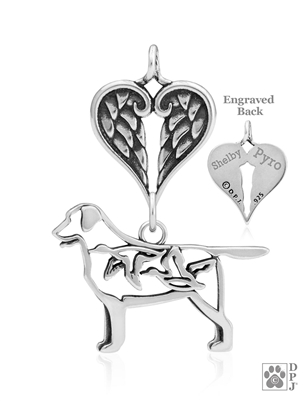 Sterling Silver Labrador Retriever Pendant, w/Ducks in Body w/Healing Angels -- new