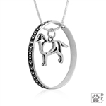 Sterling Silver Labrador Retriever Pendant, Body, w/Colossal Blinger -- new