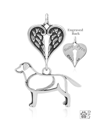 Sterling Silver Labrador Retriever Pendant, Body w/Healing Angels -- new