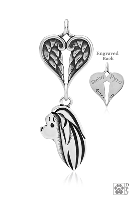Sterling Silver Maltese Pendant, Head w/Healing Angels -- new