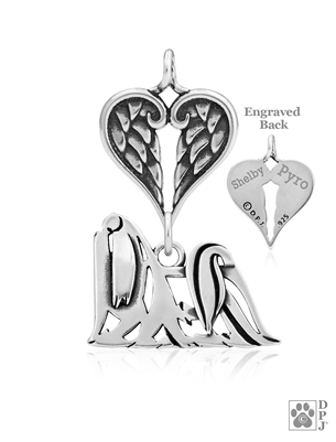 Personalized Sterling Silver Maltese Pendant, Showcut Body, w/Healing Angels