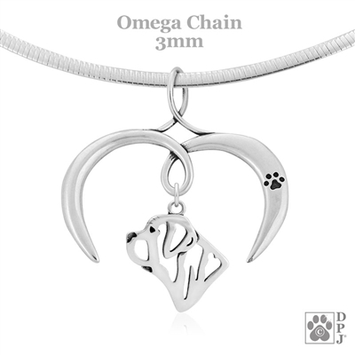 I Love My Mastiff Necklace, Sterling Silver Mastiff necklace