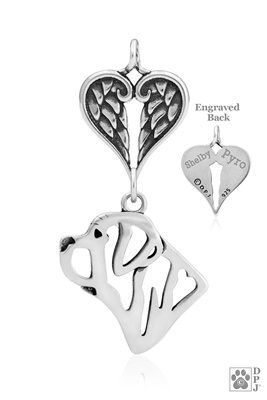 Sterling Silver Mastiff Pendant, Head w/Healing Angels -- new
