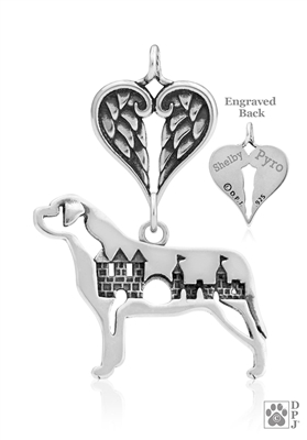 Personalized Sterling Silver Mastiff Angel Necklace, Body