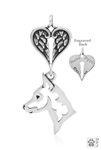 Sterling Silver Miniature Pinscher Pendant, Head w/Healing Angels -- new