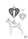 Sterling Silver Miniature Pinscher Pendant, Body w/Healing Angels -- new