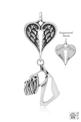 Personalized Sterling Silver Schnauzer Cropped Ears Pendant, Head w/Healing Angels
