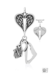 Sterling Silver Schnauzer Natural Ears Pendant, Head w/Healing Angels