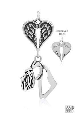 Personalized Sterling Silver Schnauzer Natural Ears Pendant, Head w/Healing Angels