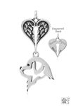 Sterling Silver Newfoundland Pendant, Head w/Healing Angels -- new