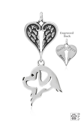 Personalized Sterling Silver Newfoundland Angel Necklace, Head