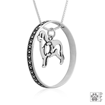 Sterling Silver Newfoundland Necklace w/Paw Print Enhancer, Body