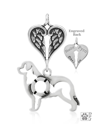 Sterling Silver Newfoundland Pendant, w/Life Preserver in Body, w/Healing Angels -- new