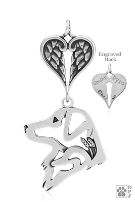 Personalized Sterling Silver Nova Scotia Duck Tolling Retriever Angel Necklace, Head