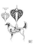 Sterling Silver Nova Scotia Duck Tolling Retriever Pendant, w/Ducks in Body, w/Healing Angels -- new