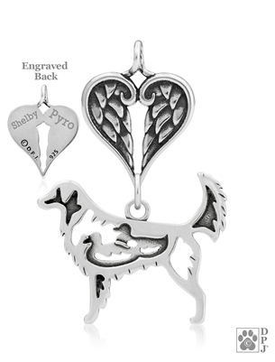 Personalized Sterling Silver Nova Scotia Duck Tolling Retriever Angel Necklace, Body